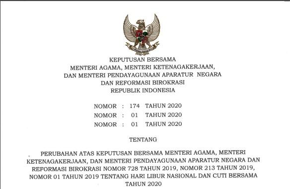 Keputusan Bersama Menteri Agama, Menteri Ketenagakerjaan dan Menteri Pendayagunaan Aparatur Negara Tentang Hari Libur Nasional dan Cuti Bersama tahun 2020