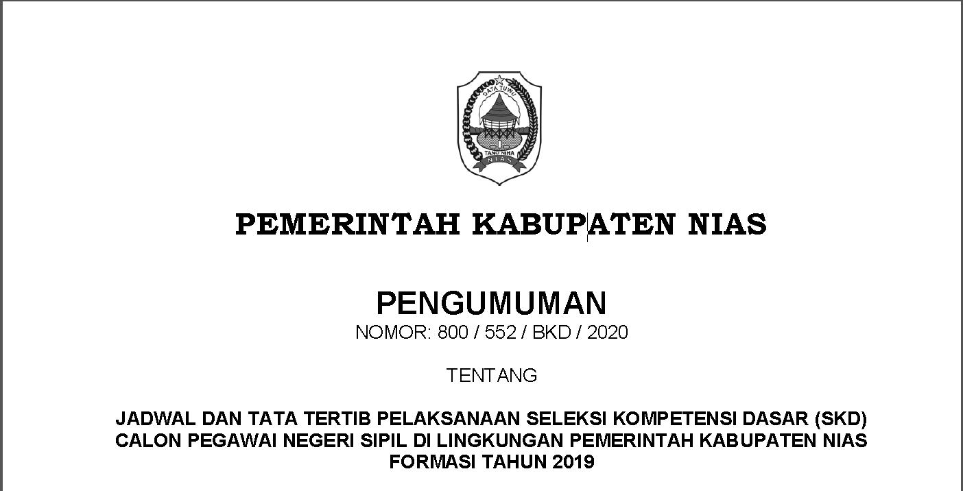 Jadwal dan Tata Tertib Pelaksanaan SKD CPNS di lingkungan Pemkab Nias Formasi Tahun 2019